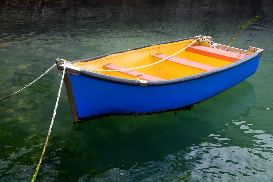Blue, Yellow, Boat, Water, Color