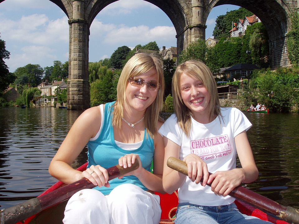 Boating, Woman, Girl, Family, Happy, Friends, River