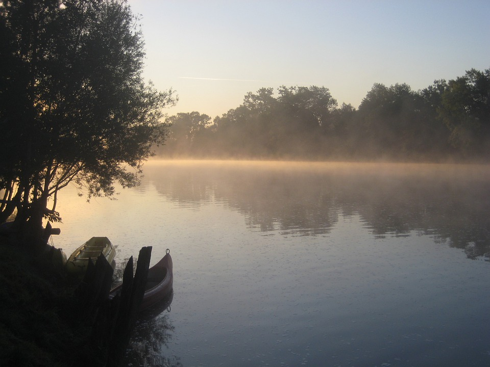 River, Deep Mist, Morning, Boats, Abendstimmung, Kupa