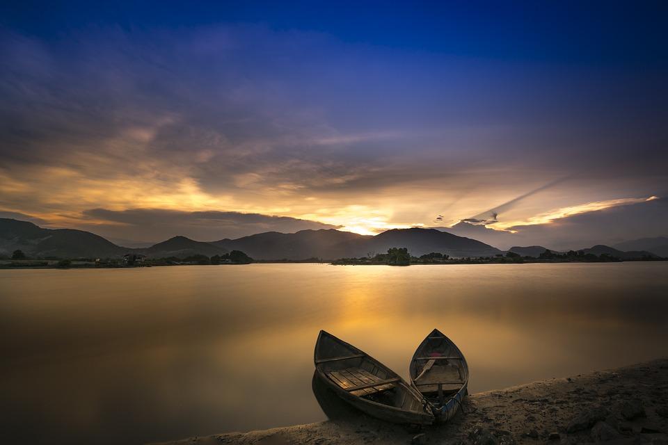 Boats, Sea, Coast, Calm, Rowing Boats, Water, Sunset