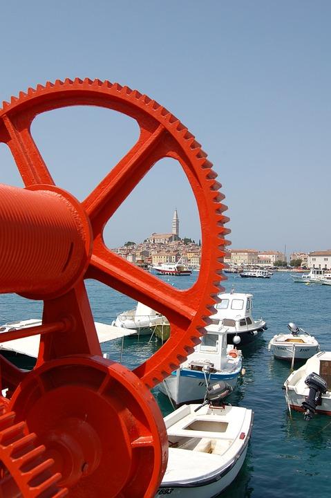 Rovinj, Port, Boats, Sky, Istria, Croatia, Landscape