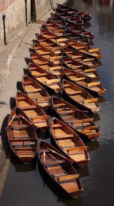 Boats, Rowboats, Canal, River, Leisure, England, Water
