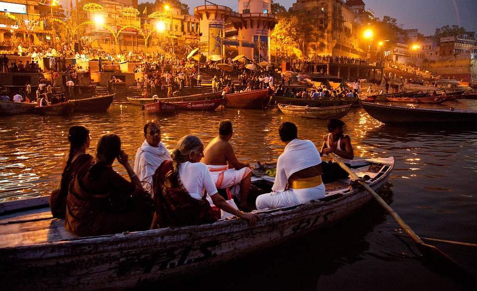 River, Boats, India, People