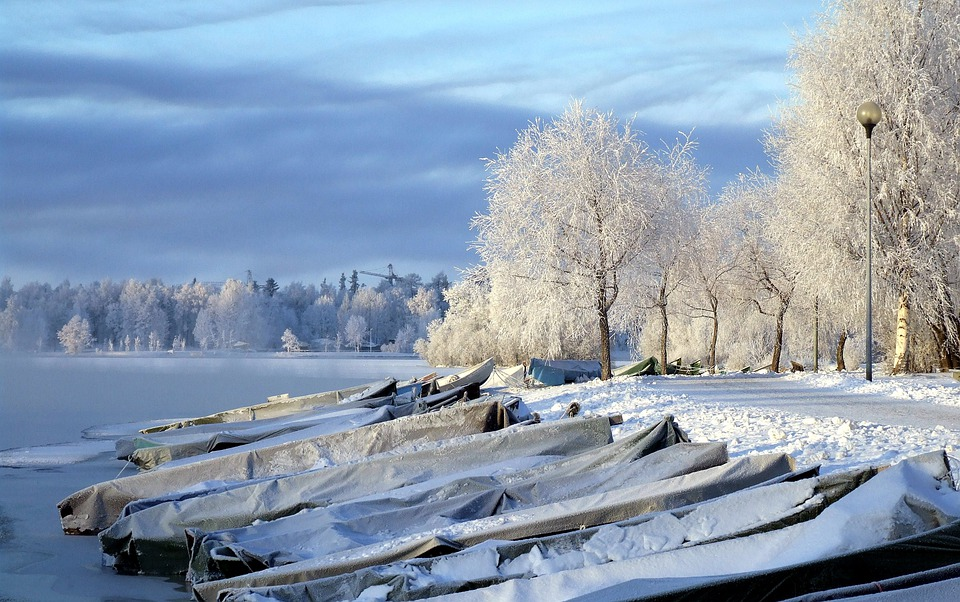 Finland, Landscape, River, Boats, Frozen, Water, Forest