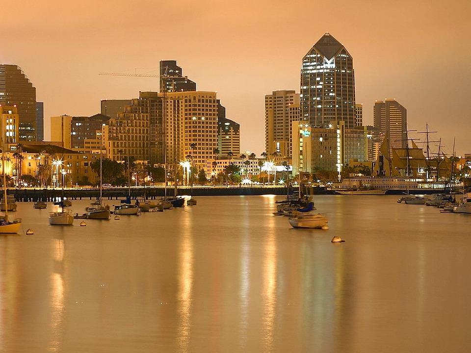 San Diego, Boats, Evening, Night, Lights, Long Exposure
