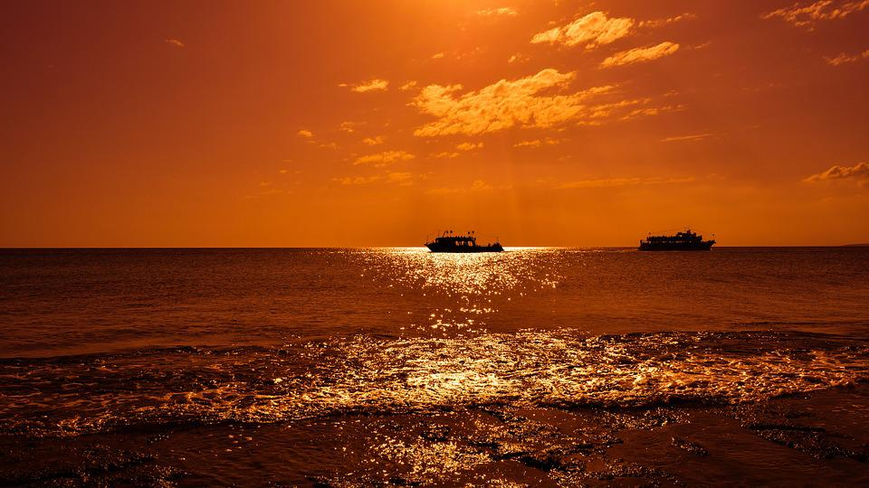 Boats, Sunset, Sunlight, Sunbeam, Sea, Horizon, Orange