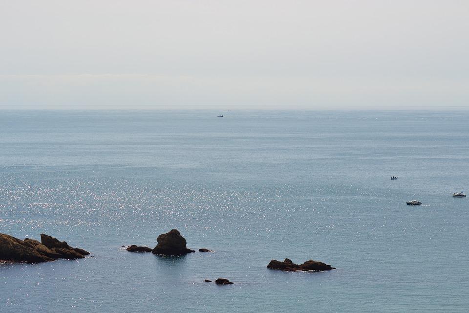 Peaceful, Sea, Ocean, Afternoon Haze, Boats, Calm Water