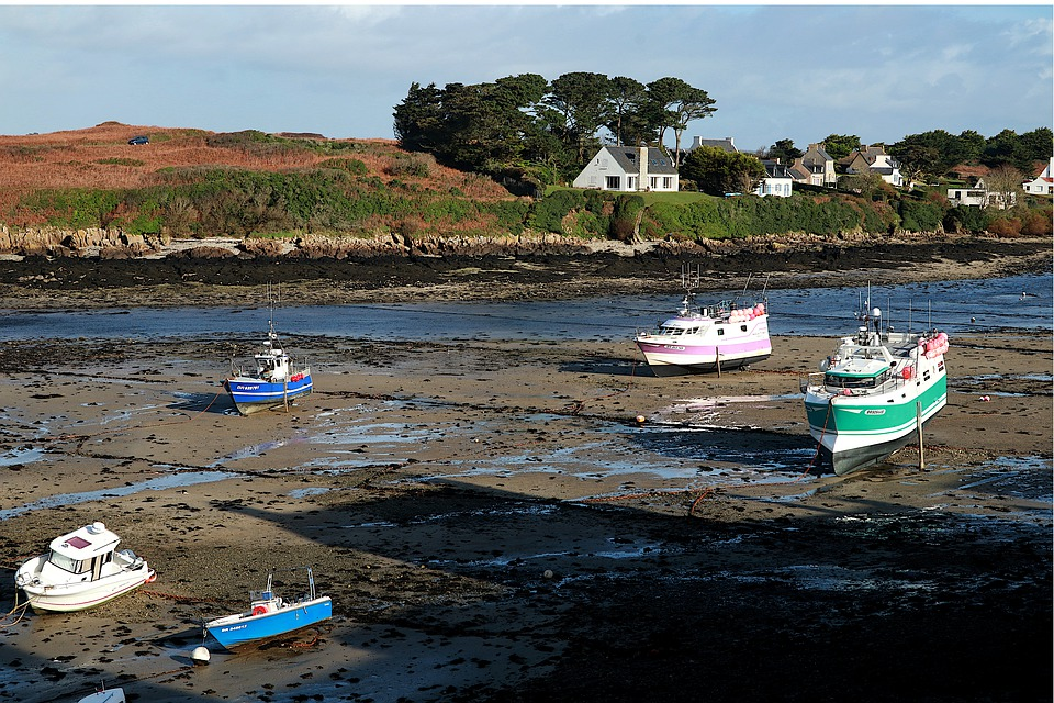 Port, Boats, Low Tide, Brittany, Water, Sea, Ship