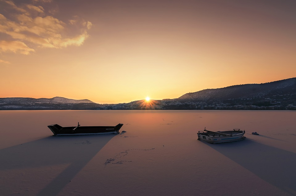 Sunset, Winter, Boats, Cold, Frozen, Snow, Nature, Sky