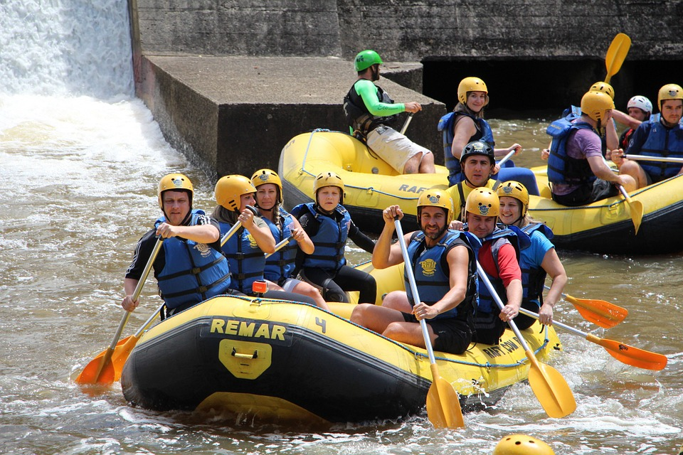 Rafting, Team, Boats, Paddling