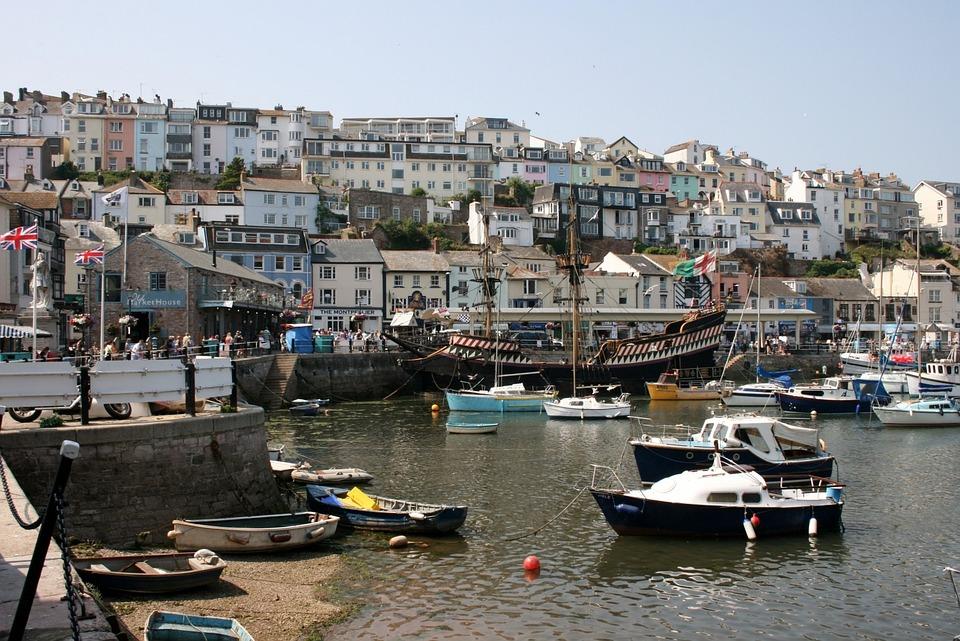 Brixham, Harbour, Devon, Boats, Sea, Houses, View