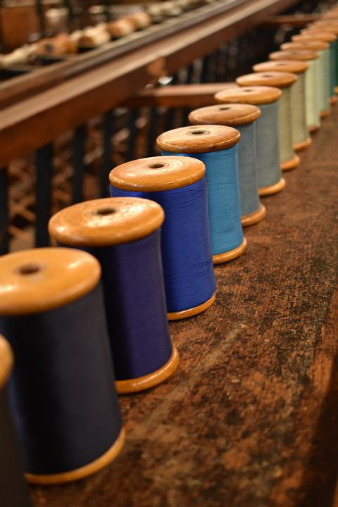 Threads, Bobbins, Sewing, Fabric, Wooden, Reels