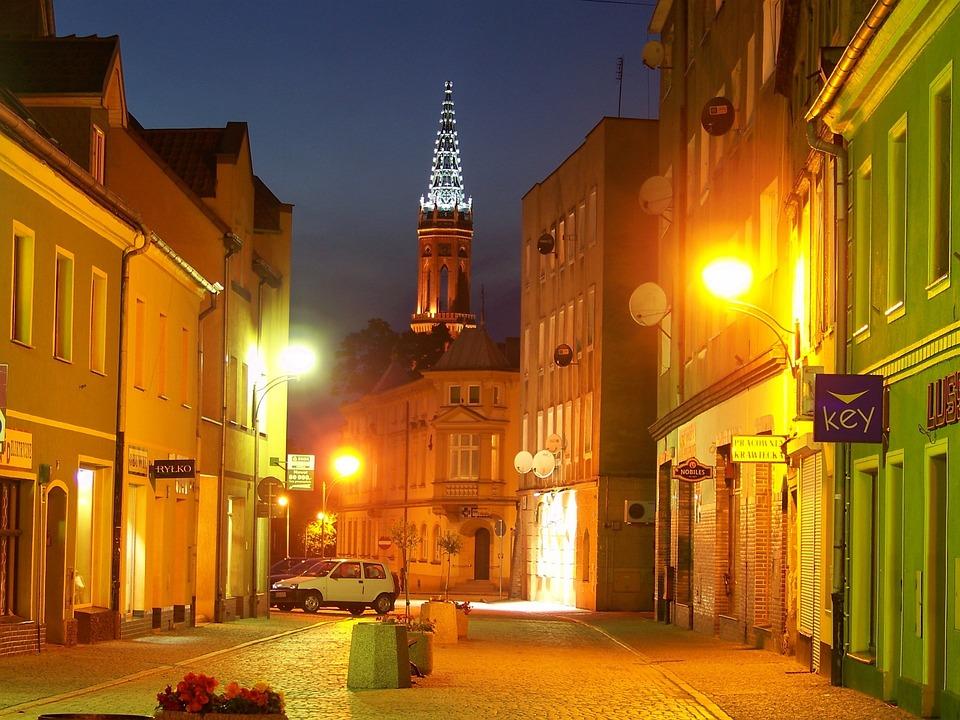 Poland, Zagan, Bobr, Road, Panorama, View, Town, City