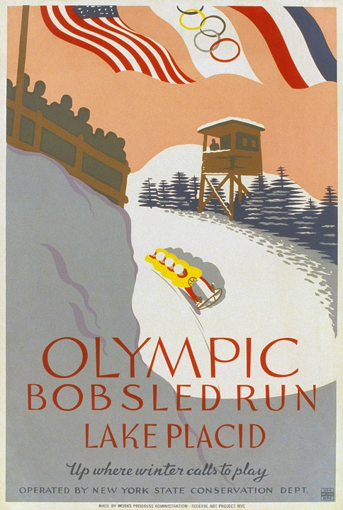 Olympic Games, Bobsleigh, Four Man, 1932, Poster