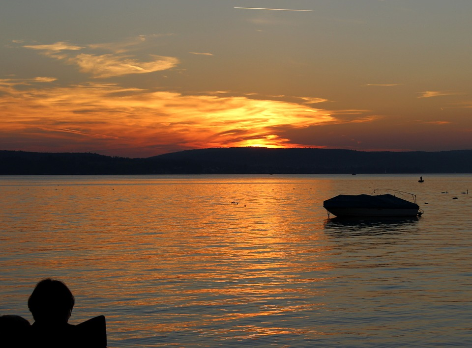 Evening Red, Bodensee, Austria, Sunset, Sea, Holiday