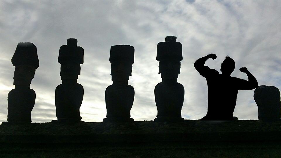 Silhouette, Easter Island, Body Builder