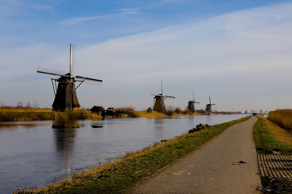 Body Of Water, Wind Mill, River, No Person