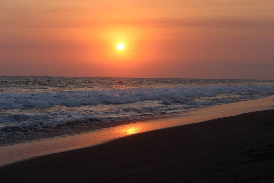 Sunset, Sun, Dawn, Body Of Water, Sand, Sea, Nature