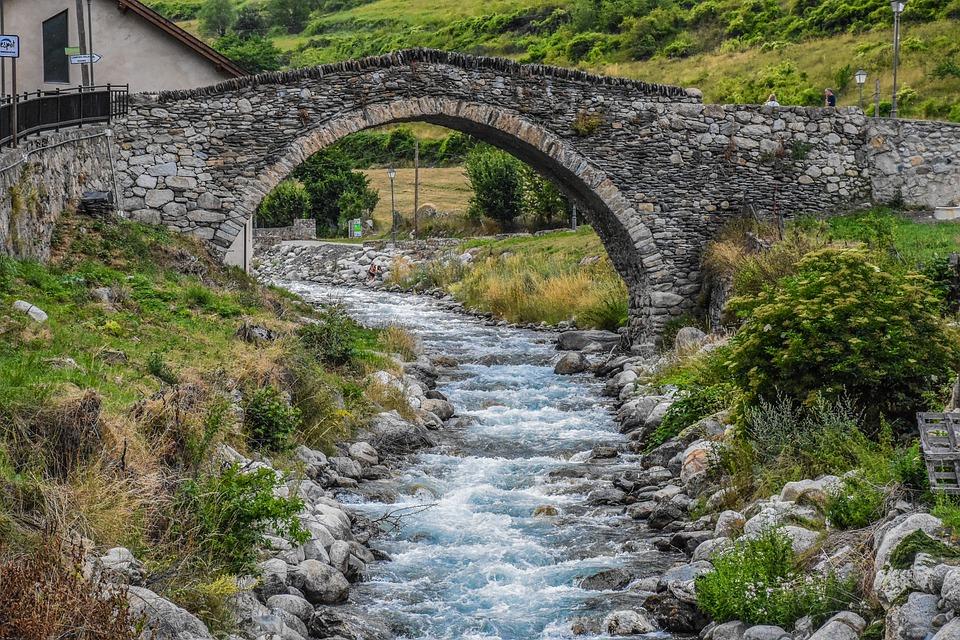 Body Of Water, Nature, River, Stone, Bridge, Travel