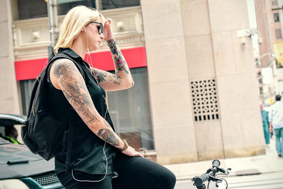 Woman, Cyclist, Tattoos, Arms, Skin, Ink, Bodyart