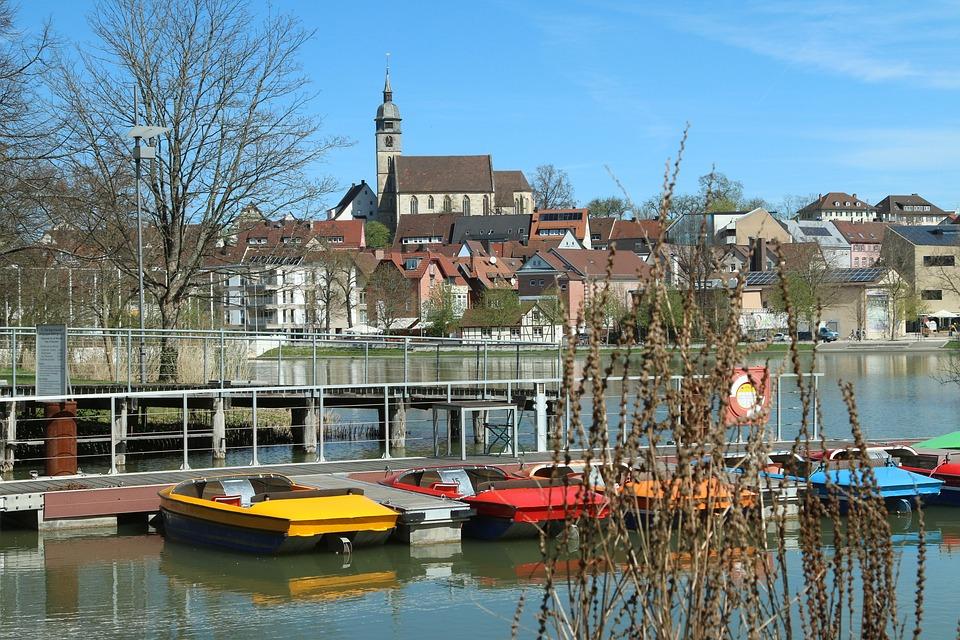 Böblingen, City, Lake, Homes, Church, City View, Town
