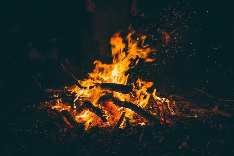 Bonfire, Burning, Campfire, Dark, Fire, Firewood, Flame