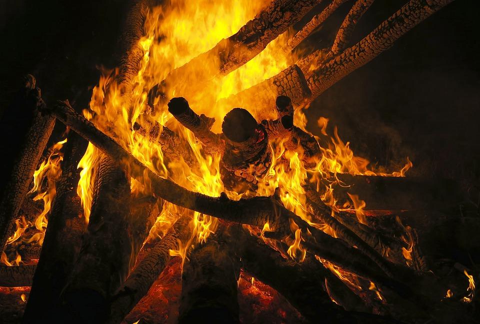 Fire, Bonfire, Flames, Embers, Orange, Night