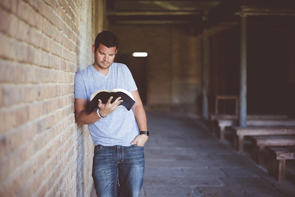 Adult, Book, Brickwork, Fashion, Indoors, Man, Outdoors