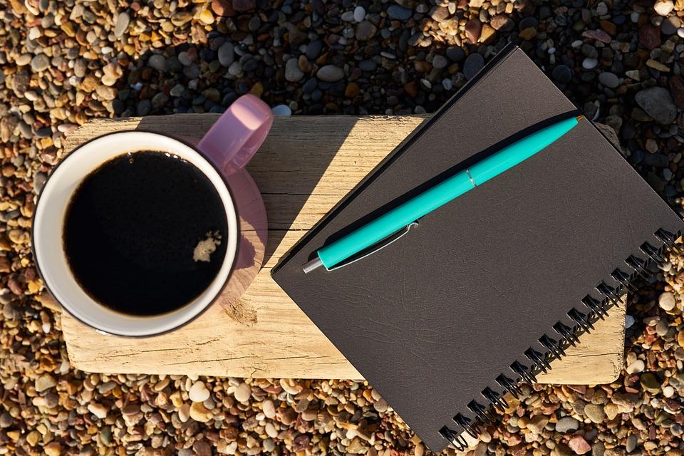Coffee, Pen, Notebook, Book, Black, Pink, Blue