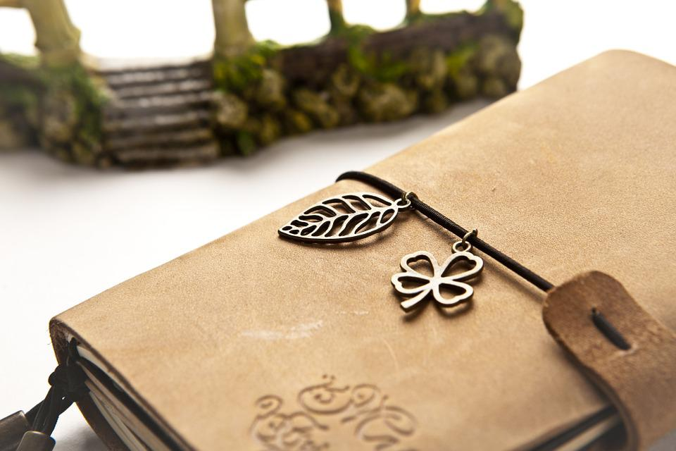 Notebook, Book, Leather, Brown, Four-leaf Clover