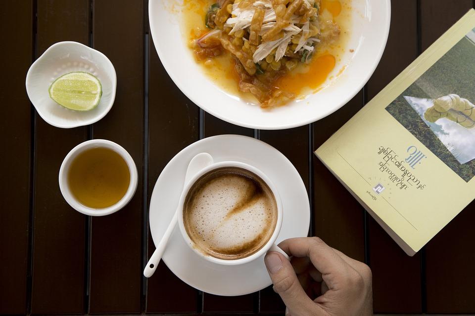 Coffee, Cup, Mug, Meal, Dish, Food, Book, Hand