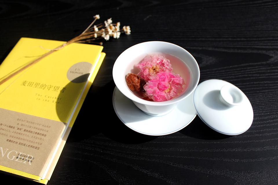 Tea Rose Corolla, Cafe, Cup, Book, Morning, Asia, Drink