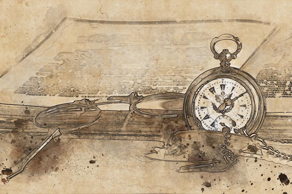 Pocket Watch, Book, Glasses, Old, Watch, Literature