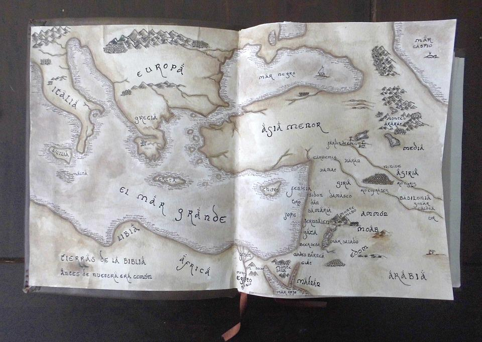 Map, Vintage, Ancient Map, Old, Europe, Asia, Book