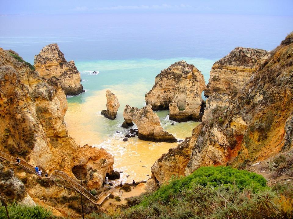 Sea, Coast, Algarve, Booked, Atlantic, Rock, Cliff