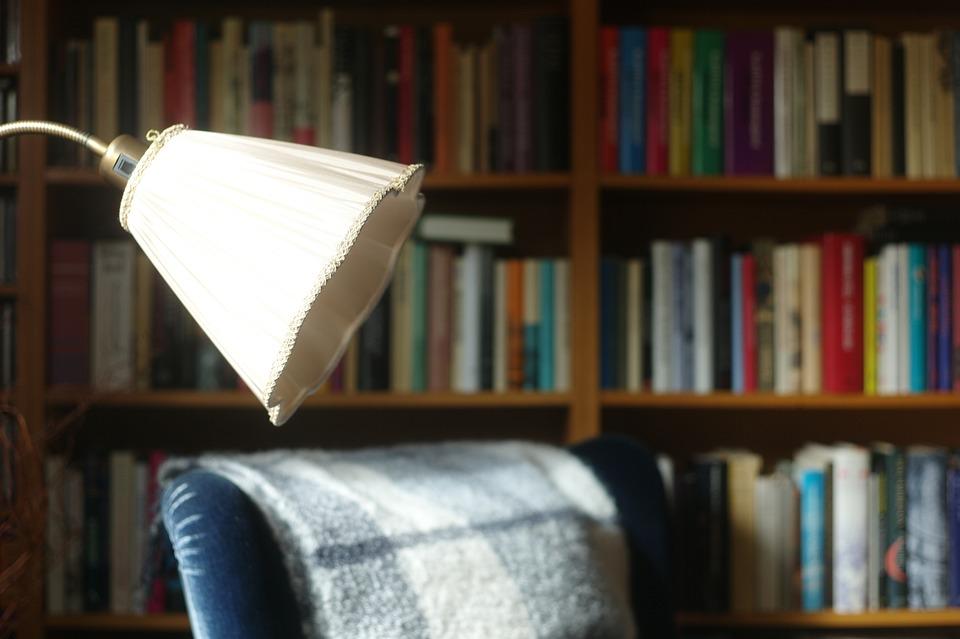 Books, Bookcase, Armchair, Länsstol, Reading Area
