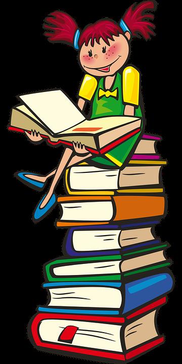 Girl, Books, School, Reading, Learning, Happy