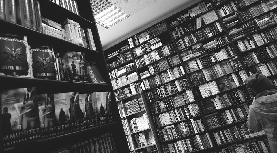 Library, Books, Shelves, Racks, Black And White, Study