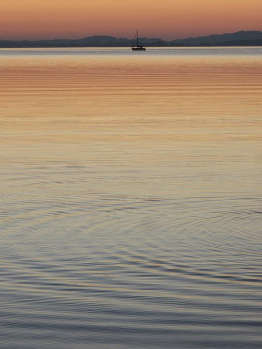 Chiemsee, Lake, Boot, Sunset, Wave