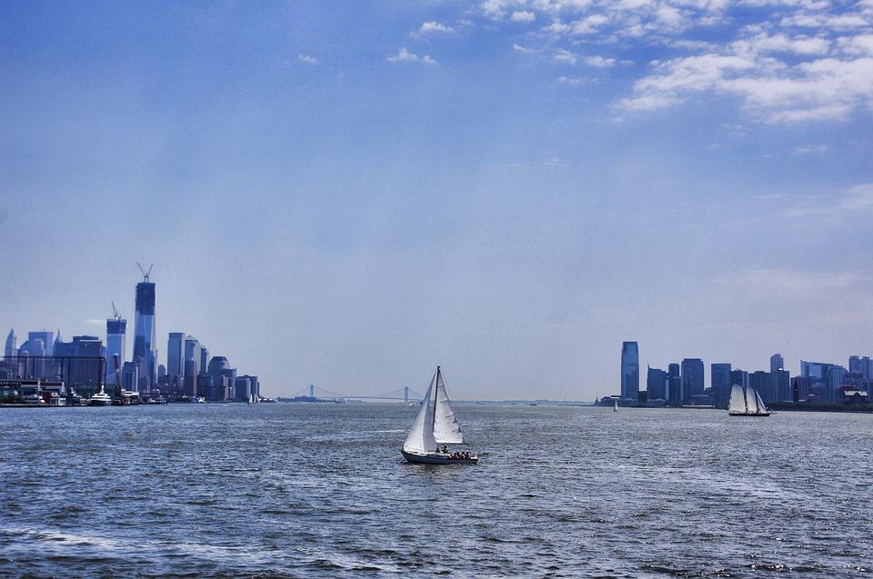 New York, Manhattan, Water, Boot, Hudson, Skyline, Sky