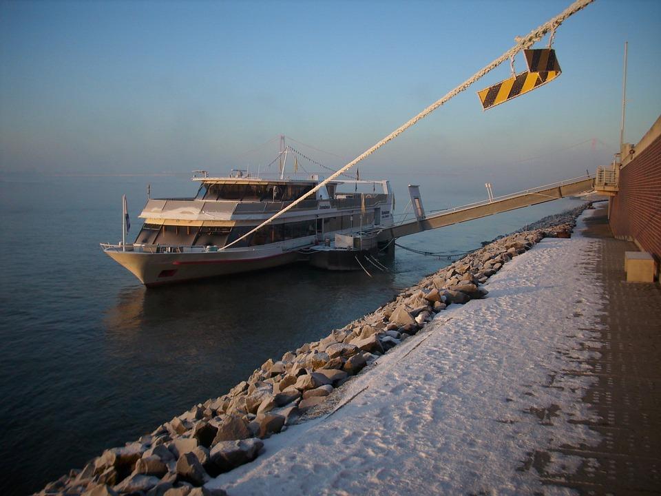 Ferry, Boot, Emmerich, Rhine, Rheinbrücke, Snow, Winter