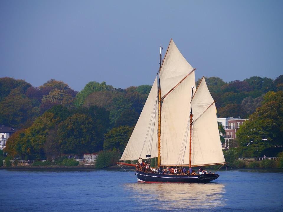 Sailing Vessel, Zweimaster, Nostalgia, Elbe, Boot