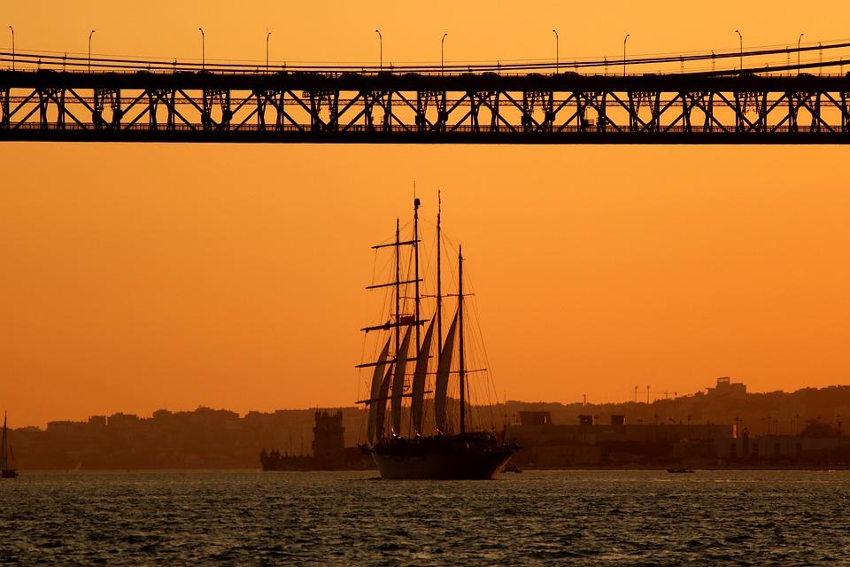 Sailing Vessel, Water, Boot, Afterglow, Bridge, Sunset
