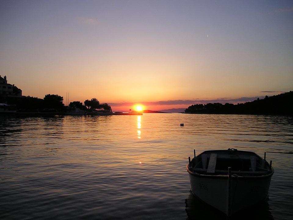 Sunset, Croatia, Sea, Boot, Rest