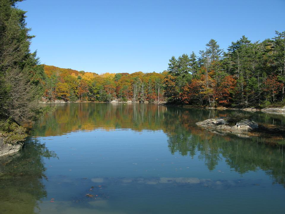Oven's Mouth, Boothbay, Maine, Fall Foliage, Peaceful