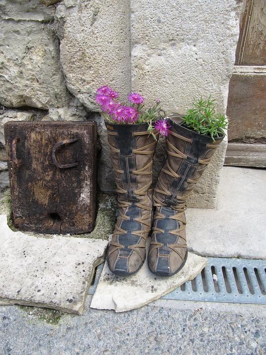 Boots, Flowers, Plants, Stones, Wall, Block, Wood
