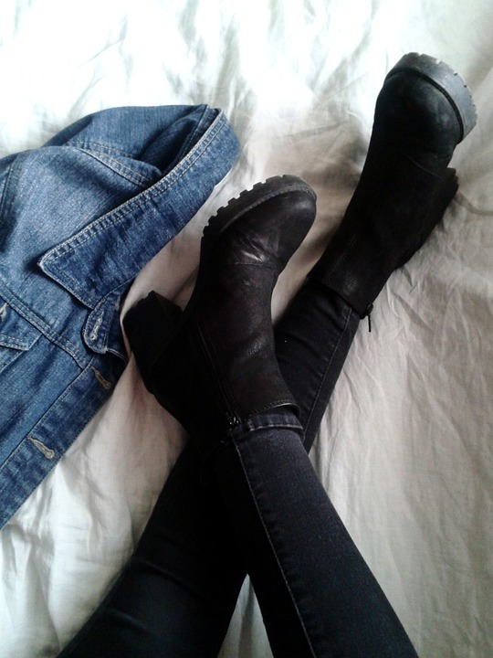 Boots, Heels, Shoes, Jeans, Denim, Jacket, Fashion, Bed
