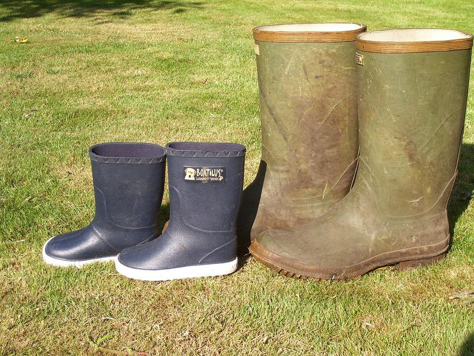 Boots, Big And Small, Garden