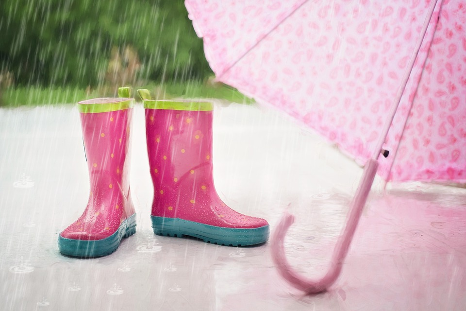 Rain, Boots, Umbrella, Wet, Rain Falling, Outdoor
