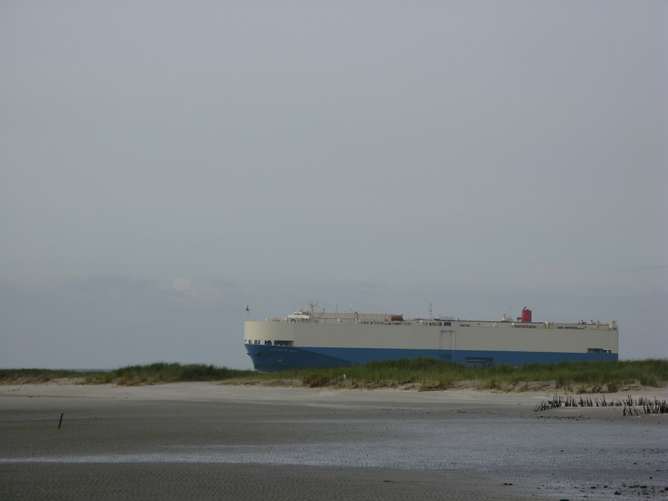 Freighter, Ship, Borkum, North Sea, Island, Beach